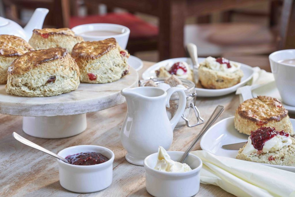 Cream Tea - tea and scones at The Druie Cafe