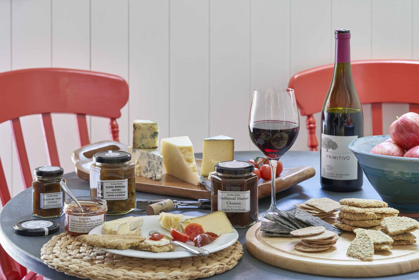Cheese board with supplies from Rothiemurchus Farm Shop