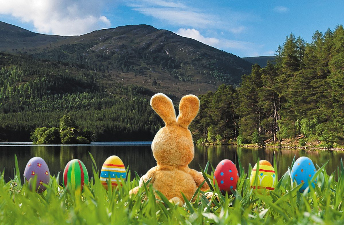 An Easter bunny and brightly painted eggs on at Loch an Eilein