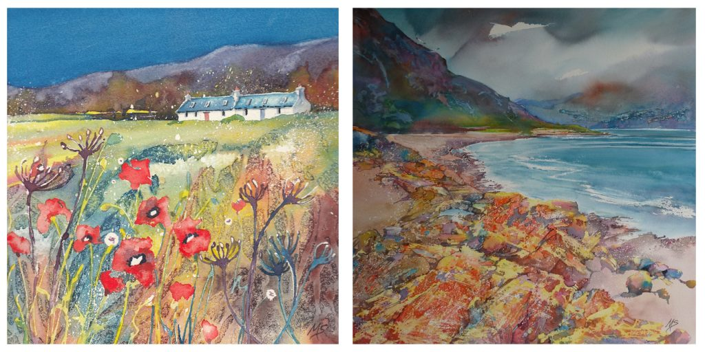 Two painting by Miriam Smith - Autumn Poppies and Misty Shore